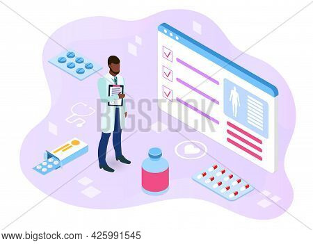 Identification Of The Diagnosis. The Doctor Holds The Patients Card And Reveals The Diagnosis On A S