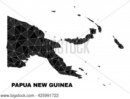 Low-poly Papua New Guinea Map. Polygonal Papua New Guinea Map Vector Filled Of Scattered Triangles.