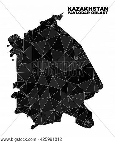 Low-poly Pavlodar Region Map. Polygonal Pavlodar Region Map Vector Is Designed From Random Triangles