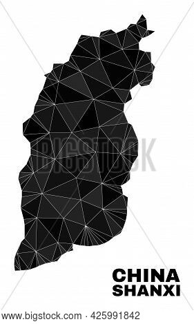 Lowpoly Shanxi Province Map. Polygonal Shanxi Province Map Vector Constructed With Scattered Triangl