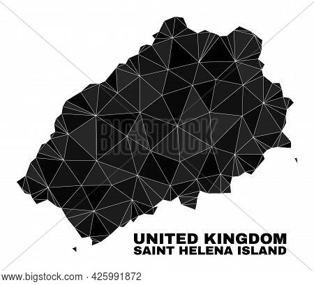 Lowpoly Saint Helena Island Map. Polygonal Saint Helena Island Map Vector Combined From Randomized T