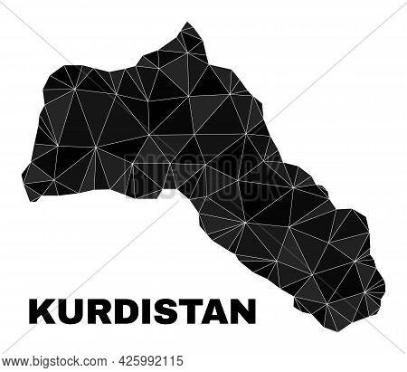 Lowpoly Kurdistan Map. Polygonal Kurdistan Map Vector Is Filled From Random Triangles. Triangulated