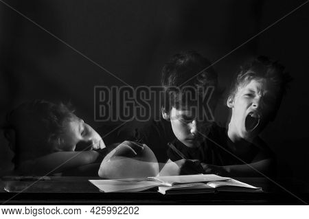 Tired Boy Does His Homework, Multi-exposure, Double Exposure. Concept Childhood, Psychology, Learnin