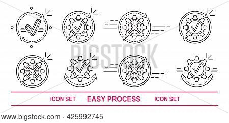 Easy Operation Process, Data Update Line Icon Set. Optimize And Effective Finish Work, Transfer Mone