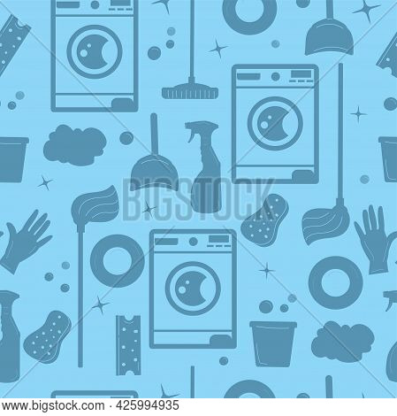 House Cleaning Supplies Seamless Pattern On Blue Background, Silhouette Of Housework Tools