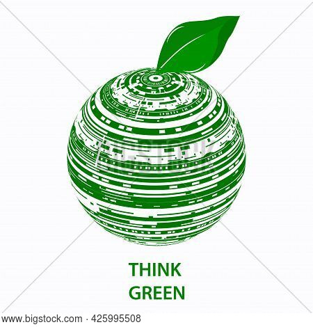 Globe With It Symbols. Think Green. Environmental Protection Concept. Digital Sustainability.