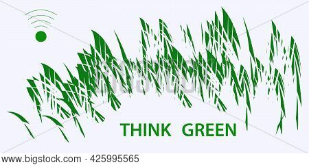 Think Green - Wi-fi Symbol, Abstract Background. Environmental Implications Of The Use Of Technology