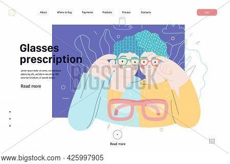 Opticians Shop - Medical Insurance Web Template. Modern Flat Vector