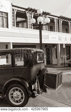 Napier New Zealand - June 1 2015;red And Black Model A Ford Refurbished Car Parked In City Street Be