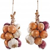 hanging bunch bundle of onion and garlic clove isolated on white background poster