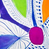 abstract floral ornament on silk hand made batik poster