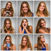 Series Of Young Expressive Woman On Gray Background poster