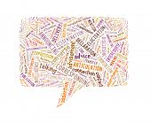 Speech Rectangle Made Up Of Text On White Background poster