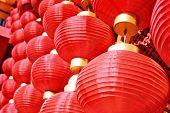 the Chinese red lanterns (spring festival celebration) poster