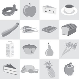 Food Icons In Black And White; Sausage, Apple, Cheese, Coffee, Zucchini, Fish, Chocolate, Bread, Mil