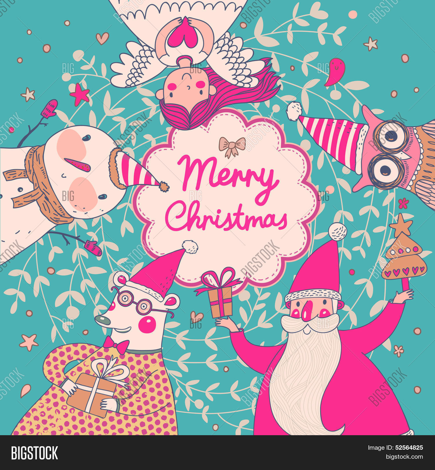 Stylish vector merry christmas vector photo bigstock stylish vector merry christmas card in bright colors cute santa claus funny bear in kristyandbryce Gallery