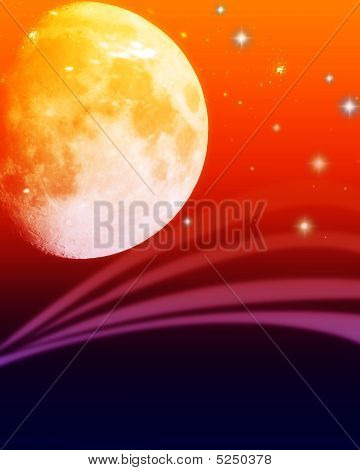 Illustration concept of outer space with orbs and colors poster