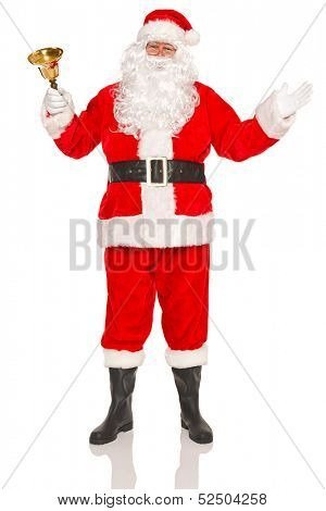 Santa Claus or Father Christmas ringing a gold bell, isolated on a white background.