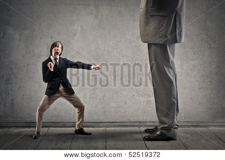 Japanese businessman attacks with karate moves a great man poster