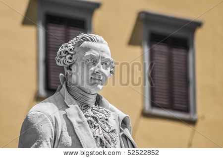 Italian playwright and librettist Carlo Osvaldo Goldoni statue located in Florence Italy poster