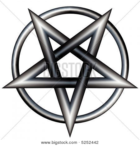 Pentagram inside a circle. Vector file contains pentangle star shape with stainless steel metal texture. poster