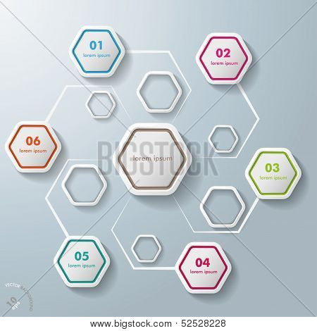 Colorful Abstract Hexagons Infographic 6 Options