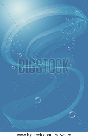 Abstract transparent tape in water with bubbles and effect of a sunlight poster