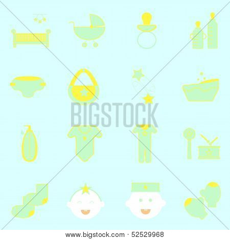 Baby Color Icons Set On Light Background