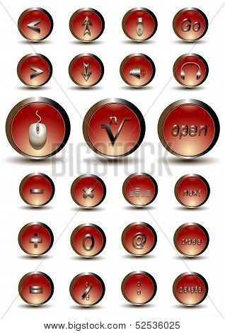 Collection of red glossy buttons with web and mathematical symbols