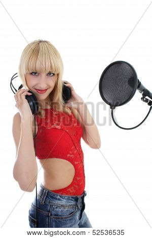 Woman With Microphone And Headphones