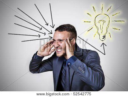 ingenious mind with light bulb and black arrows poster