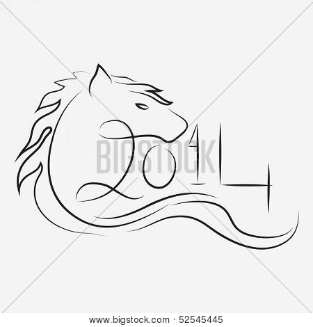 Happy New Year 2014 celebration poster, banner or flyer design with sketch of Chinese Symbol for the year Horse.