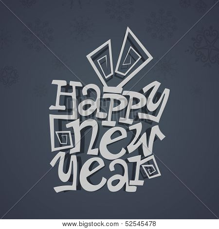 Happy New Year 2014 celebration poster, banner or flyer design with stylize text on dark grey background.
