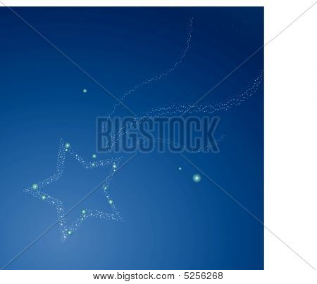 Falling night's stars on blue night background poster