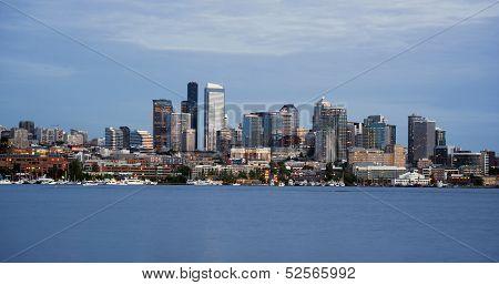 Seattle Skyline Downtown Office Buildings Nautical Transportation Lake Union