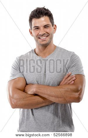 Portrait of a handsome latin man smiling with hands folded, isolated over a white background