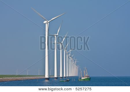 Windmills And Fishing Ship