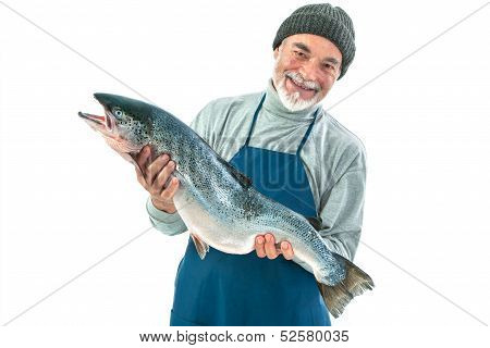 Fisher holding a big atlantic salmon fish isolated on white background poster