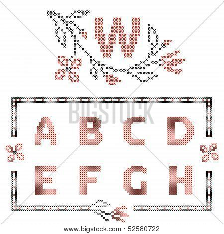 Design elements for cross-stitch embroidery. Red and black vector illustration. Floral frame for one letter and letters A-H. poster