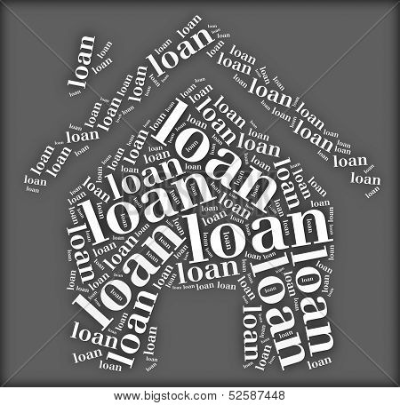 Tag or word cloud loan related in shape of house poster