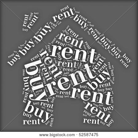 Tag or word cloud buy or rent dilemma related in shape of house poster