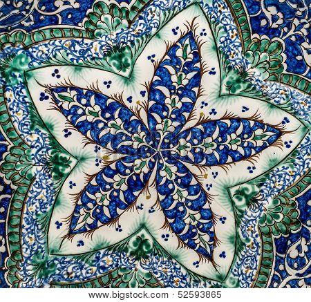 Highly detailed background with blue oriental ornaments poster