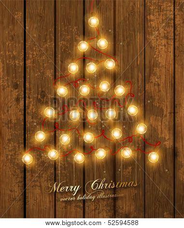 Christmas Tree Made of Christmas lights, holiday vector