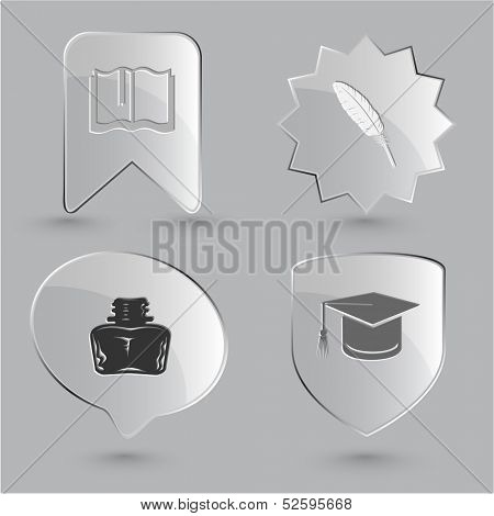 Education icon set. Graduation cap, book, inkstand, feather. Glass buttons.