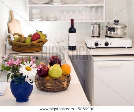 kitchen in maisonette apartment in the greek islands santorin town of oia cave house poster