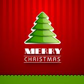 Beautiful greeting card for Merry Christmas celebration with glossy green Xmas tree on vintage red background.  poster