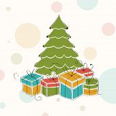 Elegant Merry Christmas celebration concept with green Xmas tree and colorful gift boxes on abstract background.  poster
