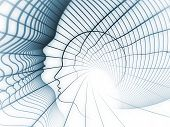 Geometry of Soul series. Graphic composition of profile lines of human head to serve as complimentary design for subject of education science technology and graphic design poster