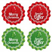 Merry christmas special offer price tags set. Vector sale round star stickers. Realistic icons for shopping. Isolated. Eps10. poster