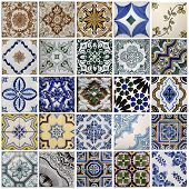 Collage of a traditional tiles from Porto, Portugal poster